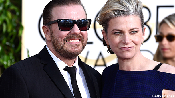 BEVERLY HILLS, CA - JANUARY 11:  Comedian Ricky Gervais (L) and Jane Fallon attend the 72nd Annual Golden Globe Awards at The Beverly Hilton Hotel on January 11, 2015 in Beverly Hills, California.  (Photo by Frazer Harrison/Getty Images)