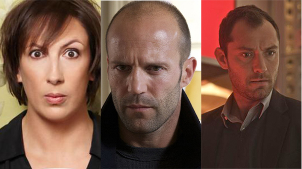 Miranda Hart, Jason Statham, and Jude Law star in Spy. (Photos: X, X, X)