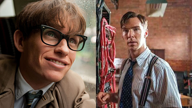 Eddie Redmayne as Stephen Hawking in 'The Theory of Everything' and Benedict Cumberbatch as Alan Turing in 'The Imitation Game' (Pics: Working Title/Studio Canal)