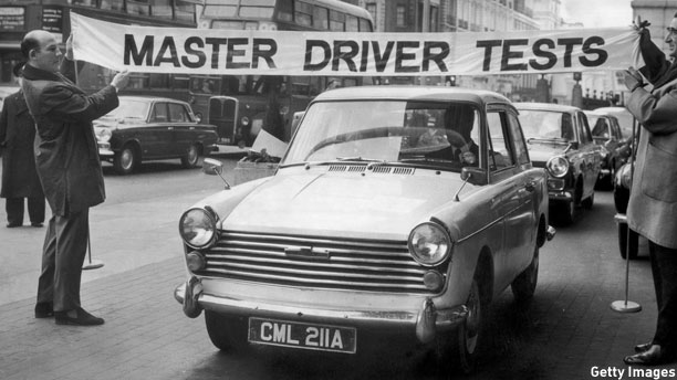 British racing champion Stirling Moss launches British Master Driver tests in London, 1967 (Pic: Jim Gray / Getty Images)