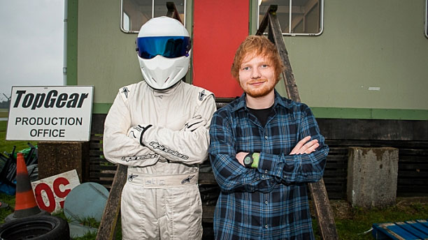 Ed Sheeran meets the Stig (Pic: BBC)