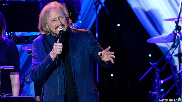 BEVERLY HILLS, CA - FEBRUARY 07:  Singer Barry Gibb of The Bee Gees performs onstage during the Pre-GRAMMY Gala and Salute To Industry Icons honoring Martin Bandier at The Beverly Hilton Hotel on February 7, 2015 in Beverly Hills, California.  (Photo by Kevork Djansezian/Getty Images)
