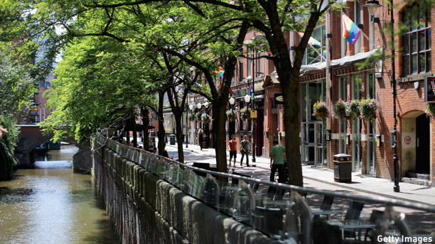 "MANCHESTER, ENGLAND - JUNE 23:  A general view of Canal St, the heart of the gay village in the City of Manchester, on June 23, 2014 in Manchester, England.  Chancellor George Osborne announced today the possibility of HS3 high-speed rail link between Manchester and Leeds that would help build a ""northern global powerhouse"" linking cities in the North of England.  (Photo by Christopher Furlong/Getty Images)"