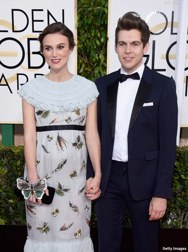 BEVERLY HILLS, CA - JANUARY 11:  Actress Keira Knightley (L) and musician James Righton attend the 72nd Annual Golden Globe Awards at The Beverly Hilton Hotel on January 11, 2015 in Beverly Hills, California.  (Photo by Frazer Harrison/Getty Images)