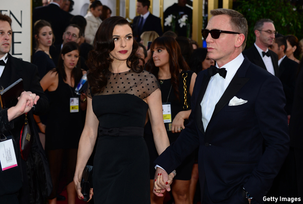 Actor Daniel Craig and actress Rachel Weisz arrive for the Golden Globe Awards in Beverly Hills on January 13, 2013. AFP PHOTO / Frederic J. BROWN        (Photo credit should read FREDERIC J. BROWN/AFP/Getty Images)