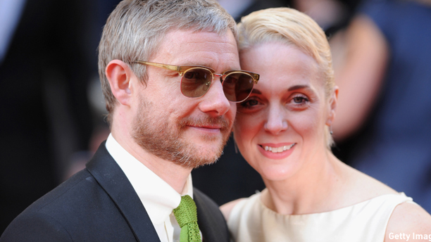 LONDON, ENGLAND - MAY 18:  Martin Freeman and Amanda Abbington attend the Arqiva British Academy Television Awards at Theatre Royal on May 18, 2014 in London, England.  (Photo by Stuart C. Wilson/Getty Images)