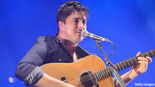 NEW YORK, NY - AUGUST 28:  Singer/musician Marcus Mumford of Mumford and Sons performs at Forest Hills Stadium on August 28, 2013 in New York City.  (Photo by Stephen Lovekin/Getty Images)