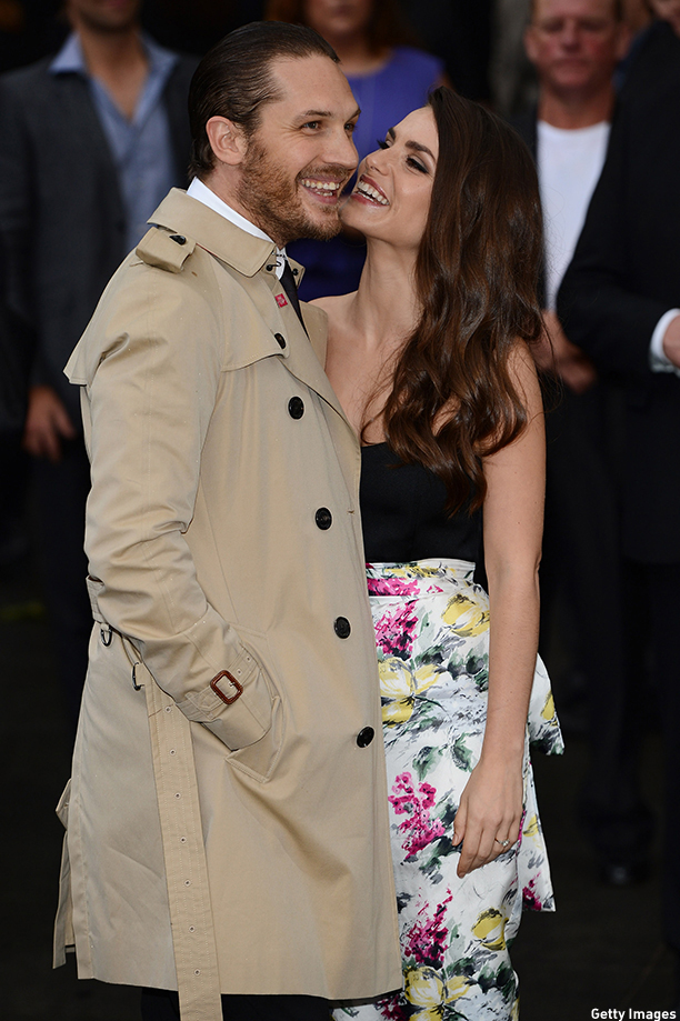 "LONDON, ENGLAND - JULY 18:  Actors Tom Hardy and Charlotte Riley  attend European premiere of ""The Dark Knight Rises"" at Odeon Leicester Square on July 18, 2012 in London, England.  (Photo by Ian Gavan/Getty Images)"