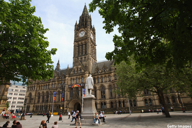 MANCHESTER, UNITED KINGDOM - MAY 12:  UEFA Cup Final signage is seen outside Manchester Town Hall in Albert Square on May 12, 2008 in Manchester, England. A big screen is due to be erected outside Manchester Town Hall where Rangers fans will be able to watch the UEFA Cup Final between Zenit St. Petersburg and Rangers at the City of Manchester Stadium on May 14, 2008.  (Photo by Alex Livesey/Getty Images)