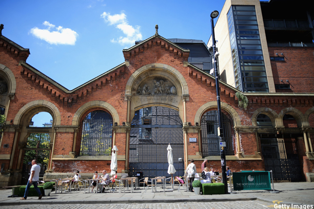 "MANCHESTER, ENGLAND - JUNE 23:  A general view of the old fish market in Manchester's Northern Quarter on June 23, 2014 in Manchester, England.  Chancellor George Osborne announced today the possibility of HS3 high-speed rail link between Manchester and Leeds that would help build a ""northern global powerhouse"" linking cities in the North of England.  (Photo by Christopher Furlong/Getty Images)"