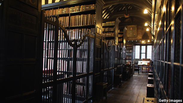 MANCHESTER, ENGLAND - FEBRUARY 14:  rare and antique books line the shelves at Chetham Library, which was founded in 1653, making it the oldest public libary in the English speaking world on February 14, 2011 in Manchester, England. Chetham's Library, which was established under the Will of Humphrey Chetham (1580-1653) and is the oldest surviving public library in Britain. Humphrey Chetham's Will stipulated that the Library should be 'for the use of schollars and others well affected', and instructed the librarian 'to require nothing of any man that cometh into the library'.  (Photo by Christopher Furlong/Getty Images)