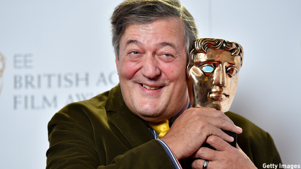 "British actor Stephen Fry poses for photographers at the BAFTA British Academy Film Awards nominees announcement in London on January 9, 2015. Wes Anderson's stylish comedy ""The Grand Budapest Hotel"" led the pack with 11 nominations for the Baftas, the British film gongs that often signal Oscar success. AFP PHOTO / BEN STANSALL        (Photo credit should read BEN STANSALL/AFP/Getty"
