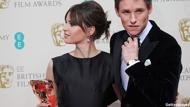 Felicity, Eddie and their new friend Bafta (Pic: Stuart C. Wilson/Getty Images)