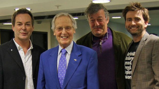 Julian Clary, Nicholas Parsons, Stephen Fry and David Tennant (in a 'The West Wing' T-shirt) (Pic: BBC Radio 4)