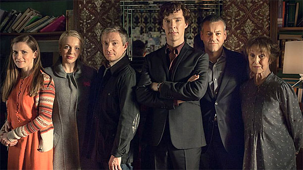'Sherlock's family portrait, with Una Stubbs on the far right (Pic: BBC)