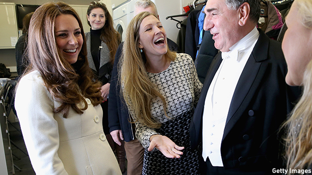 LONDON, ENGLAND - MARCH 12:  Catherine, Duchess of Cambridge chats to actor Jim Carter (Carson) during an official visit to the set of Downton Abbey at Ealing Studios on March 12, 2015 in London, England.  (Photo by Chris Jackson - WPA Pool/Getty Images)