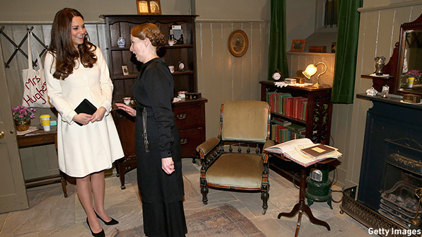 LONDON, ENGLAND - MARCH 12:  Catherine, Duchess of Cambridge meets actress Phyllis Logan (Mrs Hughes) in her 'sitting room' during an official visit to the set of Downton Abbey at Ealing Studios on March 12, 2015 in London, England.  (Photo by Chris Jackson - WPA Pool/Getty Images)