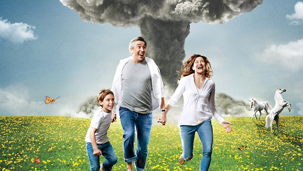 Steve Coogan, Kathryn X, and X frolic in the poster for Happyish. (Showtime)