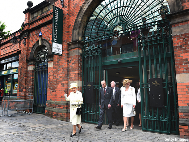 BELFAST, NORTHERN IRELAND - JUNE 24:  (EDITORIAL USE ONLY, NO SALES) In this handout image provided by Harrison Photography, Queen Elizabeth II and Prince Philip, Duke of Edinburgh leave with Lord Lieutenant Dame Mary Peters (R) after a visit to St George's indoor market on June 24, 2014 in Belfast, Northern Ireland. The Royal party are visiting Northern Ireland for three days.  (Photo by Marie Therese Hurson/Harrison Photography via Getty Images)