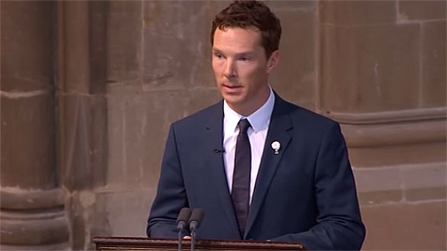 Benedict Cumberbatch reads at Richard III's reburial (Pic: Channel 4)