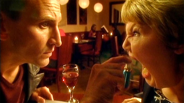 The Doctor has dinner with a friend in 'Boom Town' (Pic: BBC)