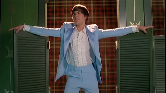 Zac Efron wearing THAT tuxedo in 'High School Musical 3: Senior Year' (Pic: Disney)