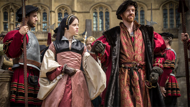 Henry VIII and Anne Boleyn pop out for a stroll in 'Wolf Hall' (Pic: BBC)