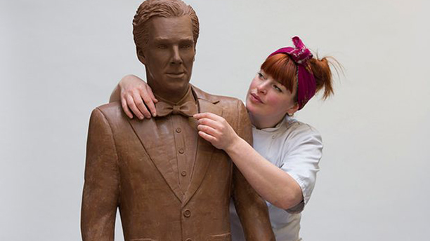 "It took 250 man hours to create ""Chocobatch"" using 40,000 grams of chocolate. (UKTV)"