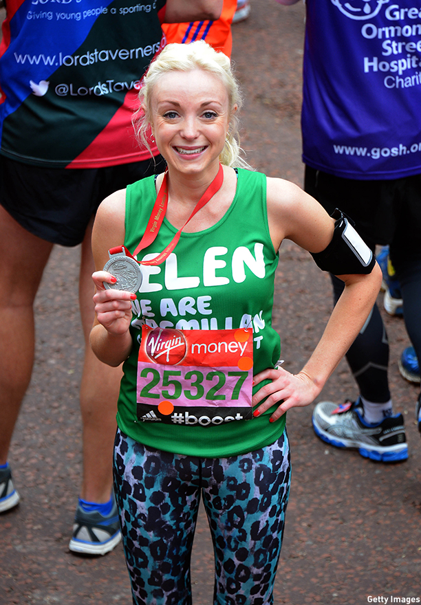 LONDON, ENGLAND - APRIL 26:  Helen George poses at the finish line during The London Marathon 2015 on April 26, 2015 in London, England.  (Photo by Stuart C. Wilson/Getty Images)