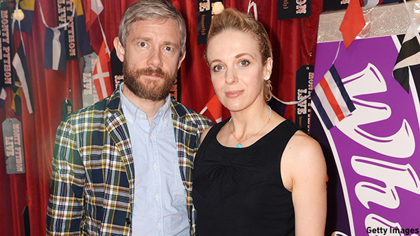 LONDON, ENGLAND - JULY 20: (EXCLUSIVE COVERAGE) Amanda Abbington and Martin Freeman attends the closing night of 'Monty Python Live (Mostly)' at The O2 Arena on July 20, 2014 in London, England. (Photo by Dave J Hogan/Getty Images)