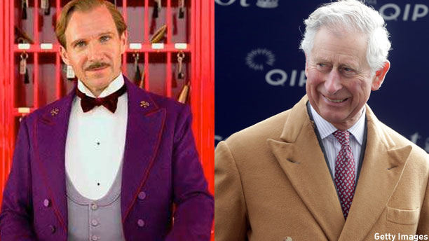 Ralph Fiennes in 'The Grand Budapest Hotel' and Prince Charles (Pic: Clint Hughes/Getty Images)