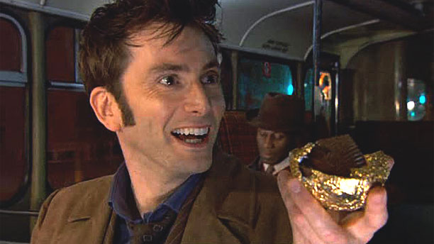 "The Tenth Doctor and his Easter egg in ""Planet of the Dead""  (Pic: BBC)"