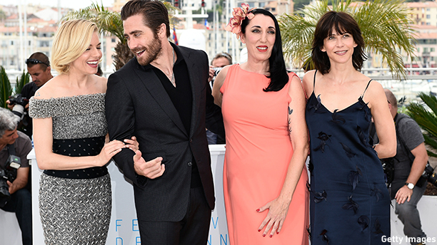 Feature Film jury members (from L) British actress Sienna Miller, US actor Jake Gyllenhaal, Spanish actress Rossy de Palma and French actress Sophie Marceau pose during a photocall ahead of the opening of the 68th Cannes Film Festival in Cannes, southeastern France, on May 13, 2015. AFP PHOTO / LOIC VENANCE        (Photo credit should read LOIC VENANCE/AFP/Getty Images)