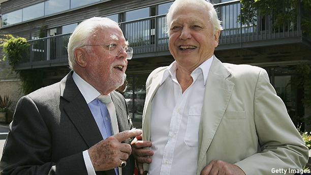 LEICESTER, ENGLAND - JULY 13:  Lord Richard Attenborough and Sir David Attenborough pose together outside the 'Richard Attenbororugh' Building at the University of Leicester, before they are awarded the title of Distinguished Honorary Fellowships from the University of Leicester, at De Montfort Hall on July 13, 2006 in Leicester, England. (Photo by Matthew Lewis/Getty Images)