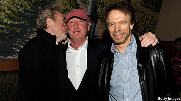 "LOS ANGELES, CA - OCTOBER 26:  (L-R) Directors Ridley Scott, Tony Scott and producer Jerry Bruckheimer pose at the after party for the premiere of Twentieth Century Fox's ""Unstoppable"" at the Napa Valley Grille  on October 26, 2010 in Los Angeles, California.  (Photo by Kevin Winter/Getty Images) *** Local Caption *** Ridley Scott;Tony Scott;Jerry Bruckheimer"