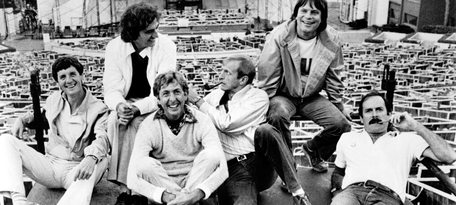 The 'Monty Python' team (L-R: Michael Palin, Terry Jones, Eric Idle, Graham Chapman, Terry Gilliam, John Cleese)