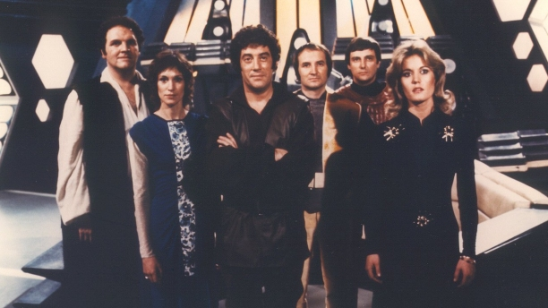 Gareth Thomas (third-left) and the rest of the 'Blake's 7' cast. (Pic: BBC)
