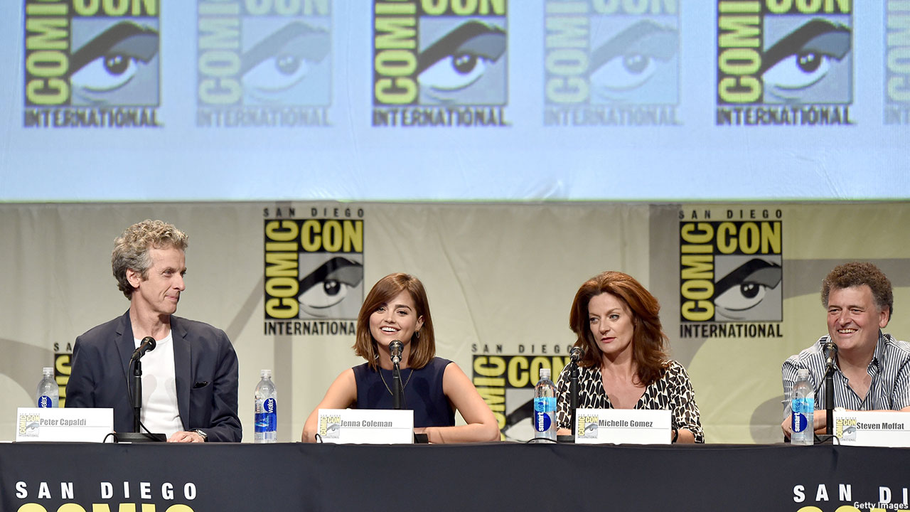 Peter Capaldi, Jenna Coleman, Michelle Gomez, and Steven Moffat at the 'Doctor Who' Comic-Con panel on Thursday, July 9.  (Photo: Kevin Winter/Getty Images)