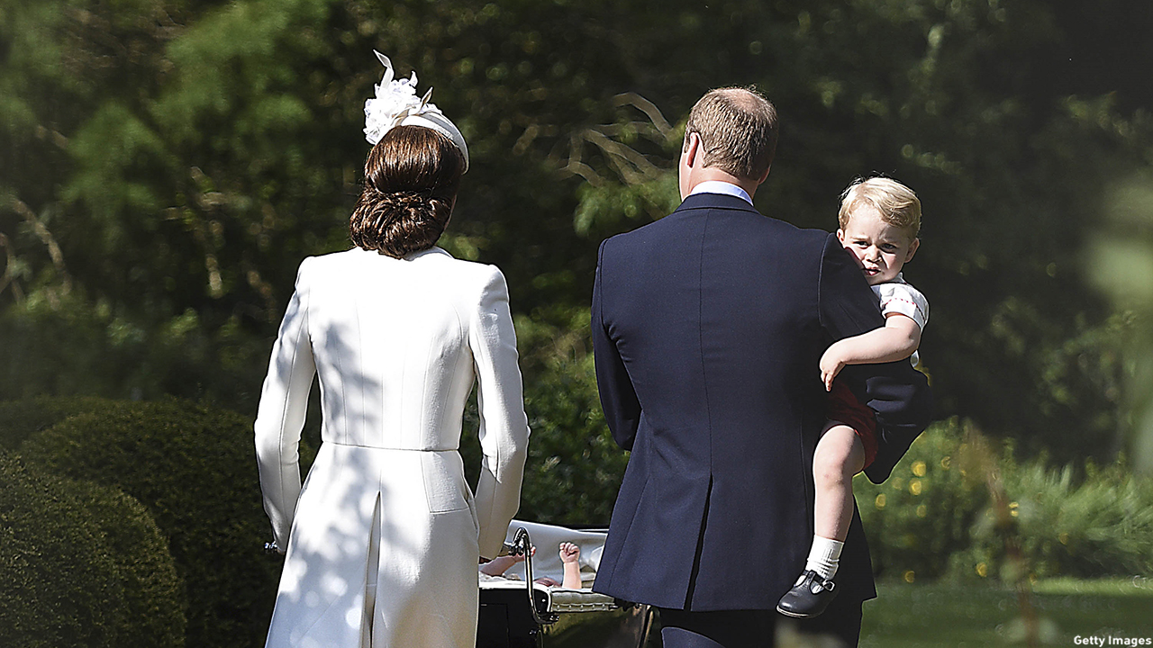 KING'S LYNN, ENGLAND - JULY 05:  Catherine, Duchess of Cambridge, Prince William, Duke of Cambridge, Princess Charlotte of Cambridge and Prince George of Cambridge leave the Church of St Mary Magdalene on the Sandringham Estate after the Christening of Princess Charlotte of Cambridge on July 5, 2015 in King's Lynn, England.  (Photo by Mary Turner - WPA Pool/Getty Images)