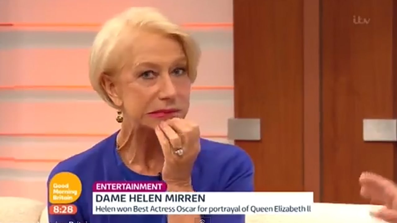 Dame Helen Mirren's expression says it all. (YouTube)