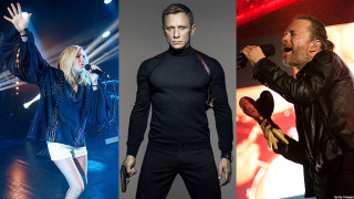 Ellie Goulding, Daniel Craig and Thom York of Radiohead (Pics:  Chris Jackson/MGM/Marc Grimwade/Getty Images)