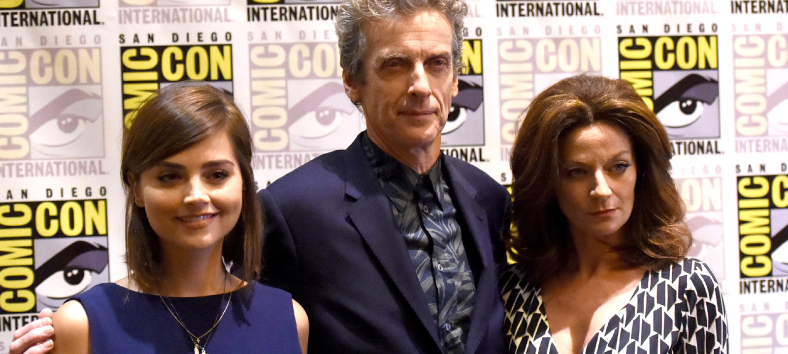 Jenna Coleman, Peter Capaldi and Michelle Gomez at San Diego Comic-Con 2015 (Pic: Jason Merritt/Getty Images)
