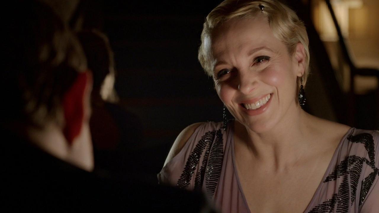Amanda Abbington appears opposite Martin Freeman (backside) in Sherlock. (BBC)