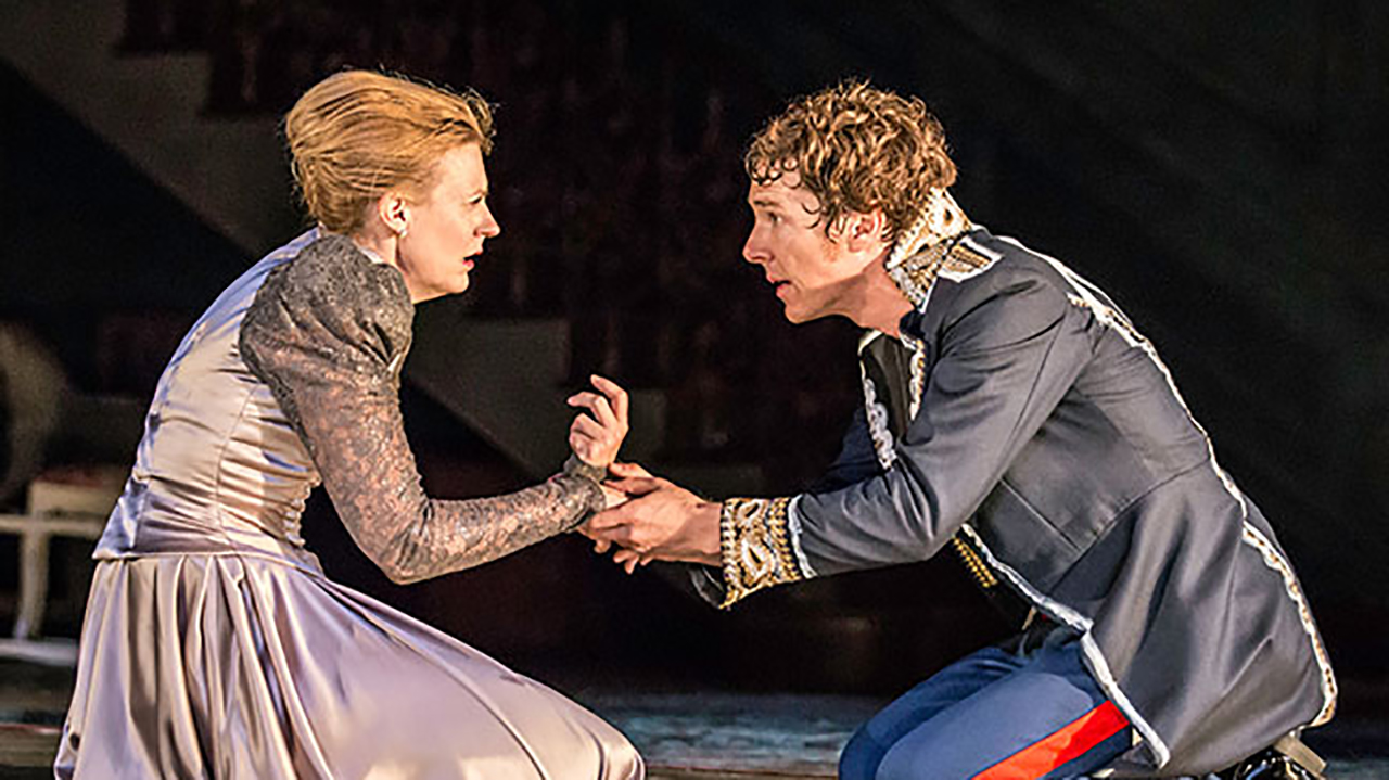 Benedict Cumberbatch stars in Hamlet, opposite Anastasia Hille as Getrude. (Barbican)