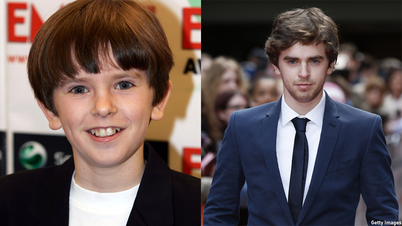 Freddie Highmore in 2005 (left) and 2015 (right).
