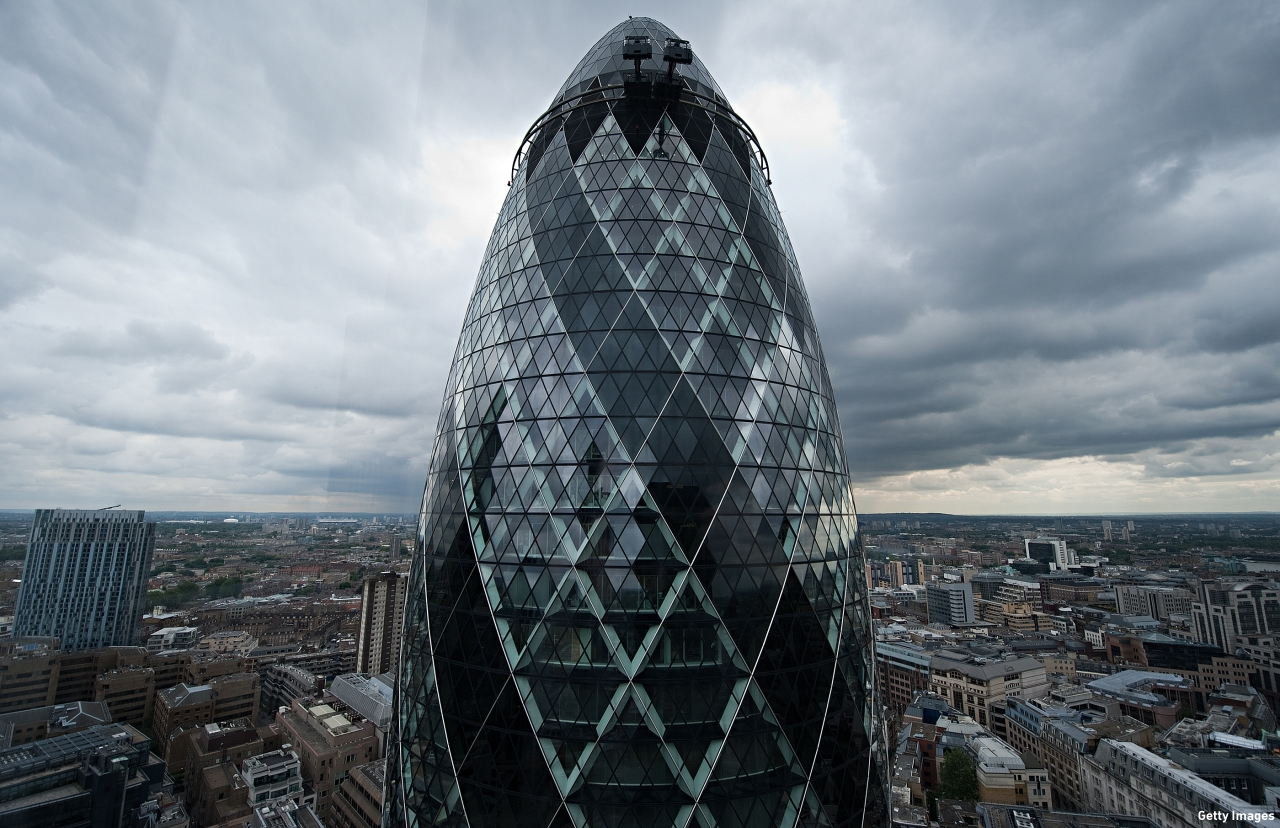 "St Mary's Axe, more popularly known as ""The Gherkin"". (Pic: Leon Neal/AFP/Getty Images)"
