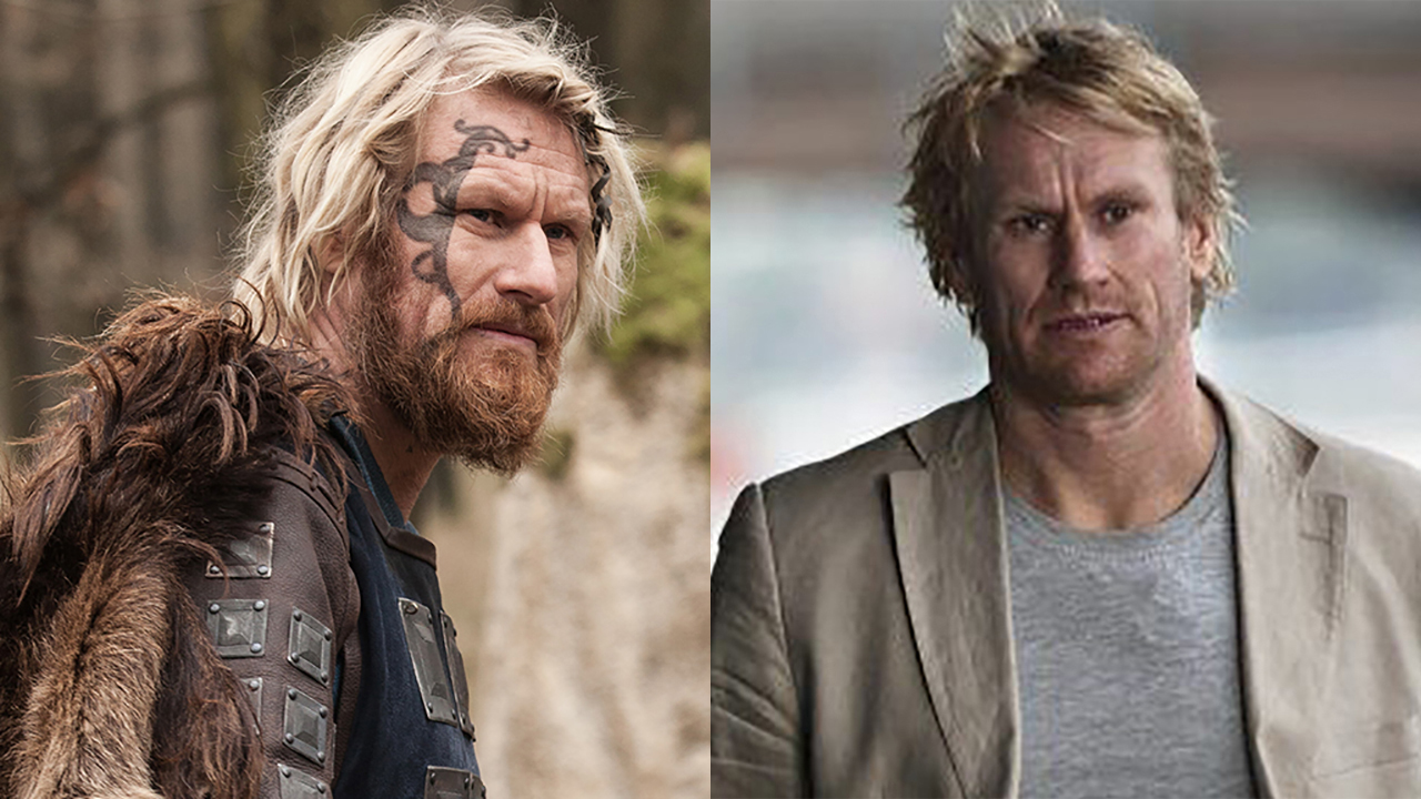Rune Temte in 'The Last Kingdom' (left) and 'Ulykken.' (Photos: BBCA/Fender Film)