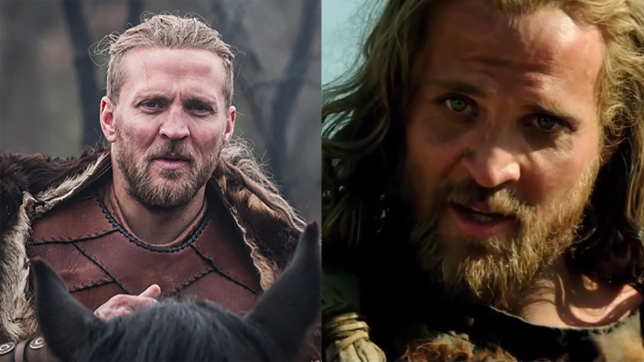Tobias Santelmann in 'The Last Kingdom' (left) and 'Hercules.' (Photos: BBCA/Paramount Pictures)