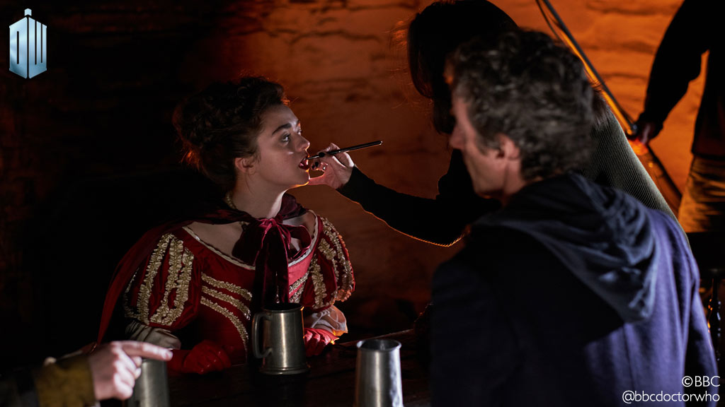 Maisie Williams and Peter Capaldi on the set of 'Doctor Who' (Photo: BBC)