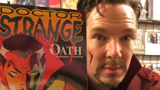 Benedict Cumberbatch visits a comic book store dressed as Doctor Strange